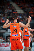 VALENCIA, SPAIN - OCTOBER 18: Dubljevic during ENDESA LEAGUE match between Valencia Basket Club and FIATC Joventut at Fonteta Stadium on October 18, 2015 in Valencia, Spain