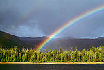 Rainbow over coastal landscape, Moresby Island, Gwaii Haanas National Park Reserve, Haida Gwaii/Queen Charlotte Islands, British Columbia, Canada