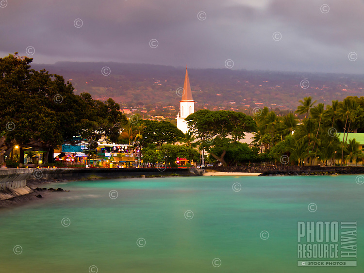 At sunset, Mokuaikaua Church stands tall in historic Kona (or Kailua-Kona) Town, Big Island.