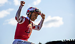 AUG 24: Mike Smith celebrates after winning the Personal Ensign Stakes at Saratoga Racecourse in New York on August 24, 2019. Evers/Eclipse Sportswire/CSM