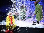 "Slava Polunin with Cast during a Sneak Peek of ""Slava's Snowshow"" at The Stephen Sondheim Theatre on November 12, 2019 in New York City."