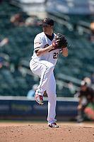 Sacramento RiverCats relief pitcher Manny Parra (23) prepares to deliver a pitch during a Pacific Coast League against the Tacoma Rainiers at Raley Field on May 15, 2018 in Sacramento, California. Tacoma defeated Sacramento 8-5. (Zachary Lucy/Four Seam Images)