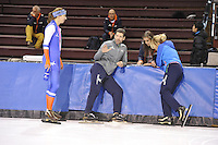 SPEED SKATING: SALT LAKE CITY: 18-11-2015, Utah Olympic Oval, ISU World Cup, training, Margot Boer (NED), Gianni Romme (trainer/coach Team Continu), Yvonne van Gennip, Marianne Timmer (trainer/coach Team Continu), ©foto Martin de Jong
