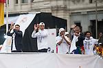 Sergio Ramos, Cristiano Ronaldo, Keylor Navas, Pepe and Marcelo during the celebration of the victory of the Real Madrid Champions League at Plaza de Cibeles in Madrid. May 28. 2016. (ALTERPHOTOS/Borja B.Hojas)