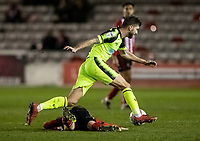 Bolton Wanderers' Luke Murphy competing with Lincoln City's Jake Hesketh (lower) <br /> <br /> Photographer Andrew Kearns/CameraSport<br /> <br /> The EFL Sky Bet League One - Lincoln City v Bolton Wanderers - Tuesday 14th January 2020  - LNER Stadium - Lincoln<br /> <br /> World Copyright © 2020 CameraSport. All rights reserved. 43 Linden Ave. Countesthorpe. Leicester. England. LE8 5PG - Tel: +44 (0) 116 277 4147 - admin@camerasport.com - www.camerasport.com