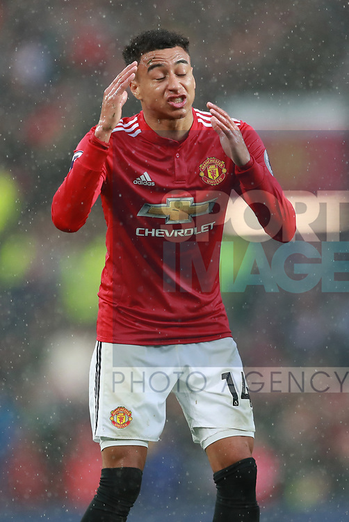 Jesse Lingard of Manchester United frustrated during the premier league match at the Old Trafford Stadium, Manchester. Picture date 15th April 2018. Picture credit should read: Simon Bellis/Sportimage
