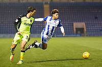 Craig Woodman of Exeter City blocks off Courtney Senior of Colchester United and concedes a free kick during Colchester United vs Exeter City, Sky Bet EFL League 2 Football at the JobServe Community Stadium on 24th November 2018