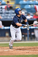 Asheville Tourists second baseman Max George (3) swings at a pitch during a game against the Greenville Drive at McCormick Field on April 16, 2017 in Asheville, North Carolina. The Drive defeated the Tourists 4-2. (Tony Farlow/Four Seam Images)
