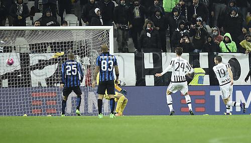 28.02.2016. Juventus Stadium, Turin, Italy. Serie A Football. Juventus versus Inter Milan.  Goal scored for Juve from Leonardo Bonucci for 1-0