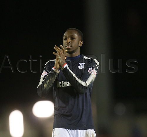 30th January 2018, Tulloch Caledonian Stadium, Inverness, Scotland; Scottish Cup 4th round replay, Inverness Caledonian Thistle versus Dundee; Dundee's Glen Kamara  applauds the fans at the end of the game
