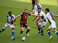 Bournemouth's Jack Stacey (centre) under pressure from Blackburn Rovers' Amari'i Bell, Bradley Johnson and \,Blackburn Rovers' Derrick Williams <br /> <br /> Photographer David Horton/CameraSport <br /> <br /> The EFL Sky Bet Championship - Bournemouth v Blackburn Rovers - Saturday September 12th 2020 - Vitality Stadium - Bournemouth<br /> <br /> World Copyright © 2020 CameraSport. All rights reserved. 43 Linden Ave. Countesthorpe. Leicester. England. LE8 5PG - Tel: +44 (0) 116 277 4147 - admin@camerasport.com - www.camerasport.com