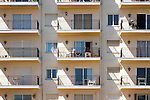 Apartments with balconies in popular holiday resort town of Nerja, Malaga province, Spain