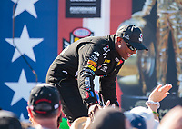 Sep 3, 2018; Clermont, IN, USA; NHRA top fuel driver Antron Brown during the US Nationals at Lucas Oil Raceway. Mandatory Credit: Mark J. Rebilas-USA TODAY Sports