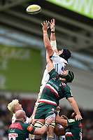 Mitch Lees of Exeter Chiefs competes with Dom Barrow of Leicester Tigers for the ball at a lineout. Aviva Premiership match, between Leicester Tigers and Exeter Chiefs on September 30, 2017 at Welford Road in Leicester, England. Photo by: Patrick Khachfe / JMP