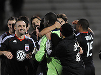 DC United goalkeeper Bill Hamid (28)  celebrates the victory at the end of the match.  DC United defeated The Philadelphia Union in penalty kicks 4-2 at TheLamar Hunt U.S. Open Cup match, at Maryland SoccerPlex, Wednesday April 6, 2011.