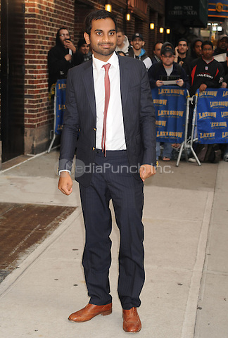 Aziz Ansari at the Ed Sullivan Theater for an appearance on Late Show with David Letterman in New York City. October 13, 2009.. Credit: Dennis Van Tine/MediaPunch