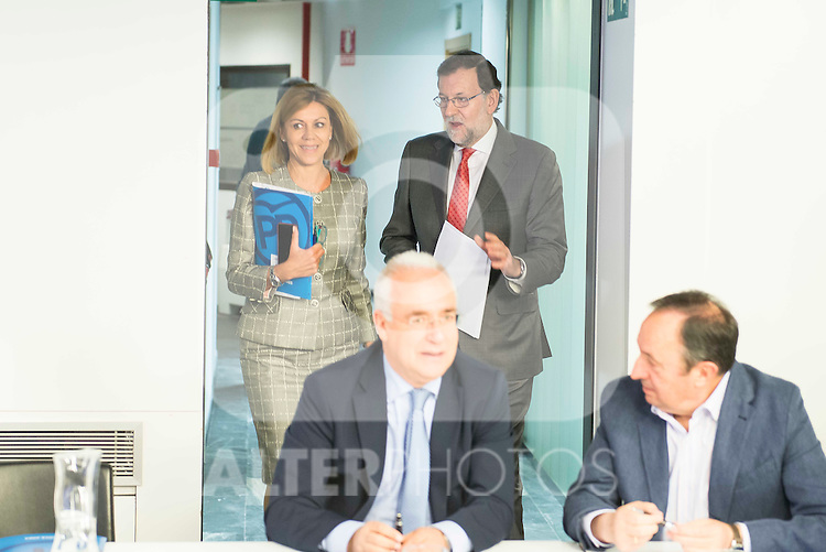 Mariano Rajoy and Maria Dolores de Cospedal during the meeting with the national executive committee of Partido Popular at Genova in Madrid. May 03, 2016. (ALTERPHOTOS/Borja B.Hojas)