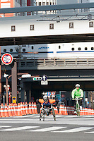 Wheelchair athletes take part in the 10th Tokyo Marathon took place on a fine spring day in Tokyo Japan. Sunday February 28th 2016. Thirty-six thousand runners took part with Ethiopian,  Feyisa Lilesa winning the  men's competition and  Kenyan, Helah Kiprop victorious in the women's race.