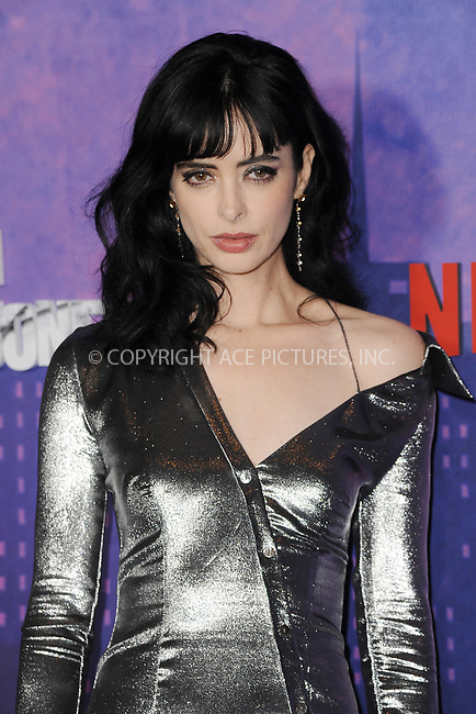 www.acepixs.com<br /> March 7, 2018  New York City<br /> <br /> Krysten Ritter attending attending Marvel's 'Jessica Jones' season 2 TV show premiere on March 7, 2018 in New York City.<br /> <br /> Credit: Kristin Callahan/ACE Pictures<br /> <br /> <br /> Tel: 646 769 0430<br /> Email: info@acepixs.com