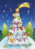 Interlitho, Andrea, CHRISTMAS SANTA, SNOWMAN, paintings, snowmen pyramid(KL5749,#X#)