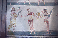 Roman mosaics of the room of the Ten Bikini Girls depicting Roman women in an athletic competition, room no 30, at the Villa Romana del Casale, first quarter of the 4th century AD. Sicily, Italy. A UNESCO World Heritage Site.
