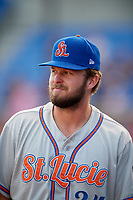 St. Lucie Mets Joe Shaw (34) during a game against the Dunedin Blue Jays on April 20, 2017 at Florida Auto Exchange Stadium in Dunedin, Florida.  Dunedin defeated St. Lucie 6-4.  (Mike Janes/Four Seam Images)