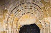France, Aquitaine, Pyrénées-Atlantiques, Pays Basque, Lahonce: L'abbaye de chanoines de Prémontré, actuellement église paroissiale de l'Assomption-de-la-Bienheureuse-Vierge-Marie , Détail portail//  France, Pyrenees Atlantiques, Lahonce  Basque Country, Canons of Prémontré Abbey Church, now Parish Church of l'Assomption-de-la-Bienheureuse-Vierge-Marie, portal retail