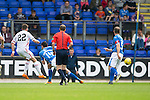 St Johnstone v Inverness Caley Thistle...08.08.15...SPFL..McDiarmid Park, Perth.<br /> Ryan Christie scores for Inverness<br /> Picture by Graeme Hart.<br /> Copyright Perthshire Picture Agency<br /> Tel: 01738 623350  Mobile: 07990 594431