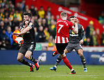 John Lundstram of Sheffield Utd shoots after being set up by Billy Sharp of Sheffield Utd during the Premier League match at Bramall Lane, Sheffield. Picture date: 7th March 2020. Picture credit should read: Simon Bellis/Sportimage