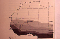 Africa:  African Adobe Architecture--Map of West Africa showing horizontal pattern of environmental belts.   ARCHITECTURAL HISTORY,  Oct. 1974.  Photo '91.