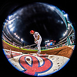 15 August 2017: Washington Nationals third baseman Anthony Rendon on deck during a night game against the Los Angeles Angels at Nationals Park in Washington, DC. The Nationals defeated the Angels 3-1 in the first game of their 2-game series. Mandatory Credit: Ed Wolfstein Photo *** RAW (NEF) Image File Available ***