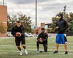 March 19, 2017. Chapel Hill, North Carolina.<br /> <br /> Mitch Trubisky has been working with QB coach Ryan Lindley (right), himself a former NFL quarterback, as he prepares for the NFL draft.<br /> <br /> Mitchell Trubisky, the former quarterback of UNC-CH, is projected to be picked in the first round of the 2017 NFL draft.
