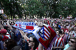 Atletico de Madrid supporters during the celebrate the Spanish title ''La Liga''  at the Neptuno fountain in Madrid. A 1-1 draw against Barcelona on the last match gave Atletico its first La Liga title in 18 years. May 18, 2014. (ALTERPHOTOS/Caro Marin)