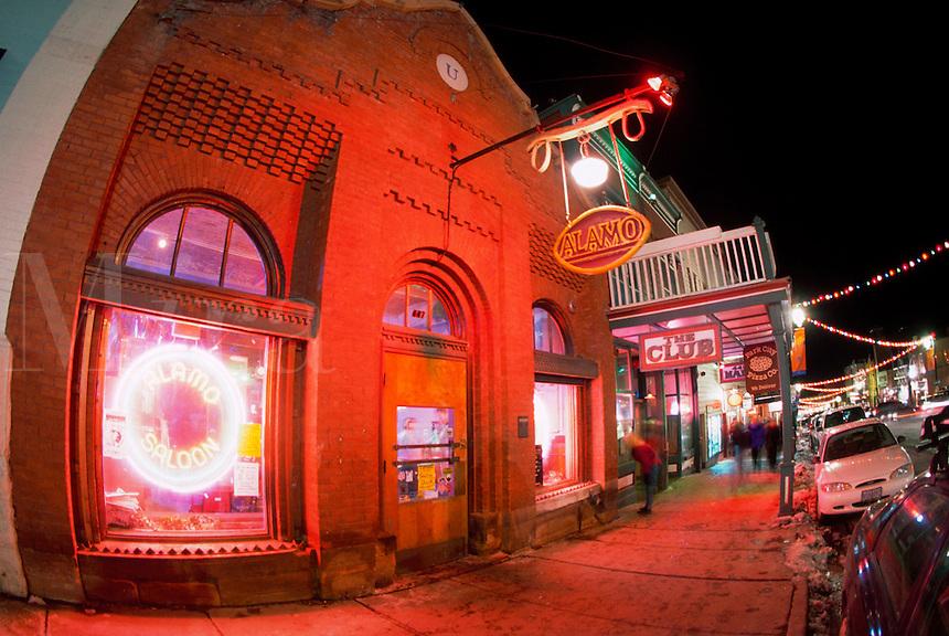 Shops and restaurants along the Main Street of Park City, Utah.