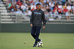 CARY, NC - SEPTEMBER 29: UNC head coach Carlos Somoano. The University of North Carolina Tar Heels hosted the North Carolina State University Wolfpack on September 29, 2017 at Koka Booth Field at WakeMed Soccer Park in Cary, NC in a Division I college soccer game.