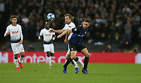 Tottenham Hotspur's Harry Kane and Internazionale's Stefan de Vrij <br /> <br /> Photographer Rob Newell/CameraSport<br /> <br /> UEFA Champions League Group B - Tottenham Hotspur v Internazionale - Wednesday 28th November 2018 - Wembley Stadium - London<br />  <br /> World Copyright © 2018 CameraSport. All rights reserved. 43 Linden Ave. Countesthorpe. Leicester. England. LE8 5PG - Tel: +44 (0) 116 277 4147 - admin@camerasport.com - www.camerasport.com