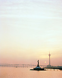 CHINA, Macau, Asia, Kun Lam Statue and Macau Tower at sunset