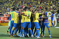 BUCARAMANGA - COLOMBIA, 09-02-2020: Paulinho Paulo Sampaio (#7) de Brasil celebra después de anotar el primer gol de su equipo durante partido entre Argentina U-23 y Brasil U-23 por el cuadrangular final como parte del torneo CONMEBOL Preolímpico Colombia 2020 jugado en el estadio Alfonso Lopez en Bucaramanga, Colombia. / Paulinho Paulo Sampaio (#7) of Brazil celebrates after scoring the first goal of his team during match between Argentina U-23 and Brazil U-23 for for the final quadrangular as part of CONMEBOL Pre-Olympic Tournament Colombia 2020 played at Alfonso Lopez stadium in Bucaramanga, Colombia. Photo: VizzorImage / Jaime Moreno / Cont