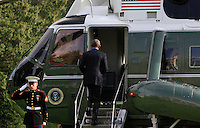 United States President Barack Obama boards Marine One as he departs the White House in Washington, DC for the opening of the UN General Assembly in New York , New York on September 18, 2016.<br /> Credit: Dennis Brack / Pool via CNP / MediaPunch