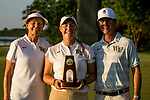 STILLWATER, OK - MAY 21: Jennifer Kupcho of Wake Forest poses with her trophy and head coach Diane Dailey (left) and assistant coach Ryan Potter (right) for winning the Division I Women's Golf Individual Championship held at the Karsten Creek Golf Club on May 21, 2018 in Stillwater, Oklahoma. (Photo by Shane Bevel/NCAA Photos via Getty Images)