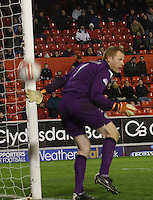 Craig Samson as the ball drops behind him and out in the Aberdeen v St Mirren Scottish Communities League Cup match played at Pittodrie Stadium, Aberdeen on 30.10.12.