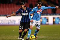 NAPOLI 25/01/2012 - COPPA ITALIA  2011/2012  QUARTI. INCONTRO NAPOLI - INTER. NELLA FOTO   CRISTIAN CHIVU GORAN PANDEV.FOTO CIRO DE LUCA