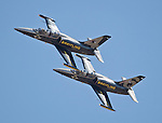The Breitling Jet Team performs during the National Championship Air Races at the Reno-Stead Airfield Friday, Sept. 18, 2015.