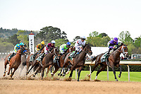 HOT SPRINGS, AR - APRIL 14: Oaklawn Park on April 14, 2018 in Hot Springs,Arkansas.#6 Magnum Moon with jockey Luis Saez leading into first turn . (Photo by Ted McClenning/Eclipse Sportswire/Getty Images)