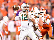 Charlotte, NC - DEC 2, 2017: Miami Hurricanes quarterback Malik Rosier (12) drops back in the pocket football during ACC Championship game between Miami and Clemson at Bank of America Stadium Charlotte, North Carolina. (Photo by Phil Peters/Media Images International)