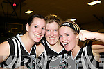 St Paul's players Catriona O'Connell, Maura Guiney and Lynn Jones celebrate after defeating Killester in the Senior Women's National Cup semi final at the Parochial Hall, Cork on Saturday