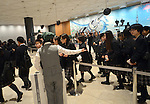 "May 22, 2012, Tokyo, Japan - Visitors wait in line for admission to the Tokyo Skytree, the worlds tallest self-standing terrestrial broadcast tower at 634 meters, which opens to the public in downtown Tokyo on Tuesday, May 22, 2012...Despite the foul weather, some 8,000 visitors turned out on the first day to see the limited but 360-degree views of the nations capital from two observation decks. On the opening day alone, the operator expected about 200,000 visitors to Tokyo Skytree Town commercial complex, which consists of the tower, a 312-tenant shopping and restaurant zone called ""Tokyo Solamachi,"" an office building zone, an aquarium and a planetarium. (Photo by Natsuki Sakai/AFLO) AYF -mis-."