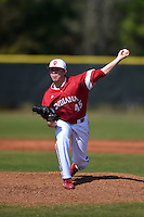 Indiana Hoosiers pitcher Caleb Baragar (45) during a game against the St. Joseph's Hawks on March 7, 2015 at North Charlotte Regional Park in Port Charlotte, Florida.  Indiana defeated St. Joseph's 3-2.  (Mike Janes/Four Seam Images)
