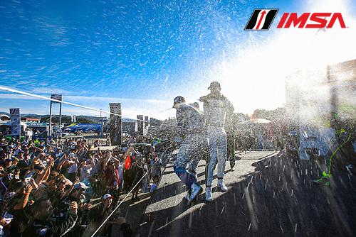 GS Podium, Champagne, #33 Winward Racing / HTP Motorsport Mercedes-AMG, GS: Russell Ward, Dominik Baumann, #7 Park Place Motorsports Porsche Cayman GT4 MR, GS: Alan Brynjolfsson, Trent Hindman