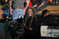 OAKLAND, CA - JULY 2:  Director/Cinematographer Scott Duncan works with Oakland Athletics team photographer Michael Zagaris before the game between the Minnesota Twins and Oakland Athletics at the Oakland Coliseum on Tuesday, July 2, 2019 in Oakland, California. (Photo by Brad Mangin)